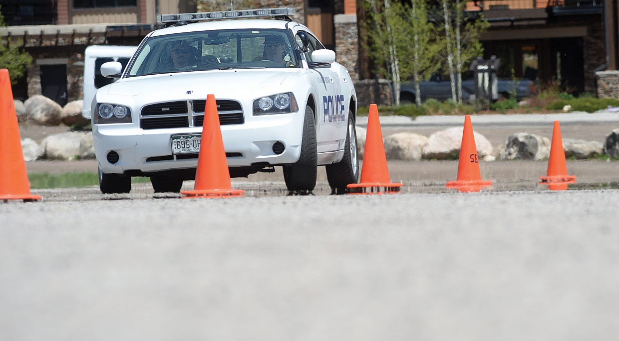 Steamboat Springs Police Sergeant Rich Brown navigates a training course at the Meadows Parking Lot off of Mount Werner Road.