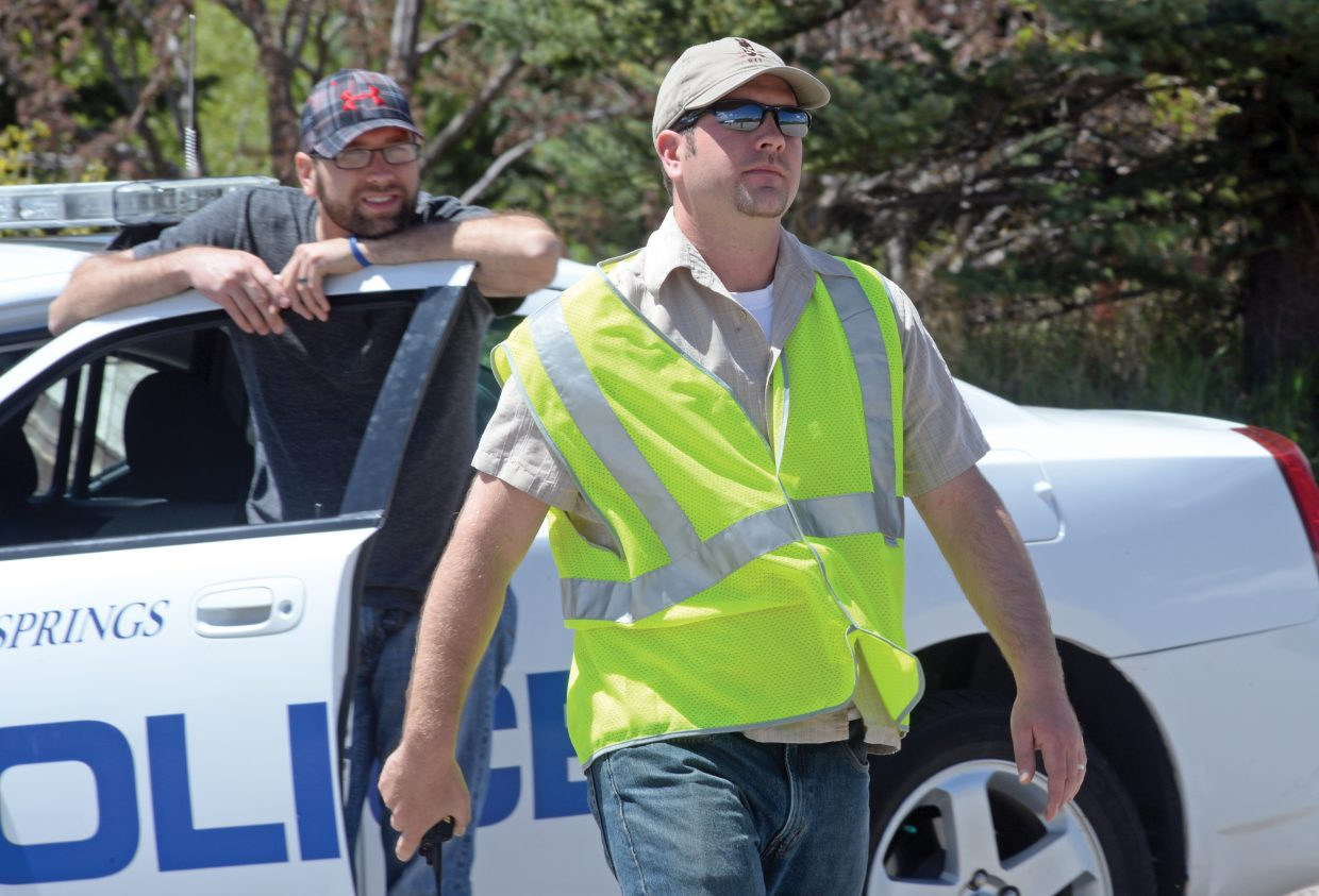 Steamboat Springs police Sgt. Scott Middleton runs a drivers training class at the Meadows Parking Lot. Officers in the Steamboat Springs Police Department go through the class twice a year — once in the fall and once in the spring.