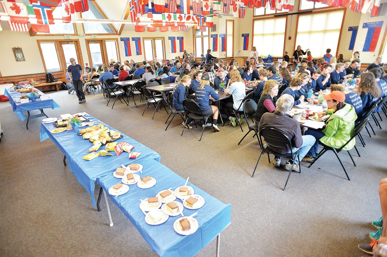 Volunteers enjoy lunch at Olympian Hall Wednesday afternoon after completing a long list of projects for this year's Routt County United Way Day of Caring.
