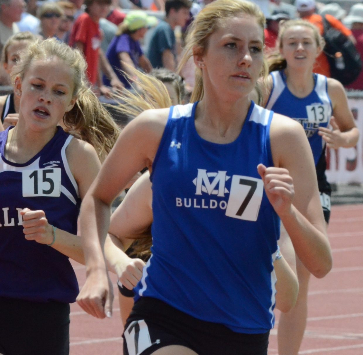 Moffat County High School's Mattie Jo Duzik rounds a corner in the 3A State Track and Field Championships. Duzik placed seventh in the girls 800-meter run and will compete in the 1600 Saturday.