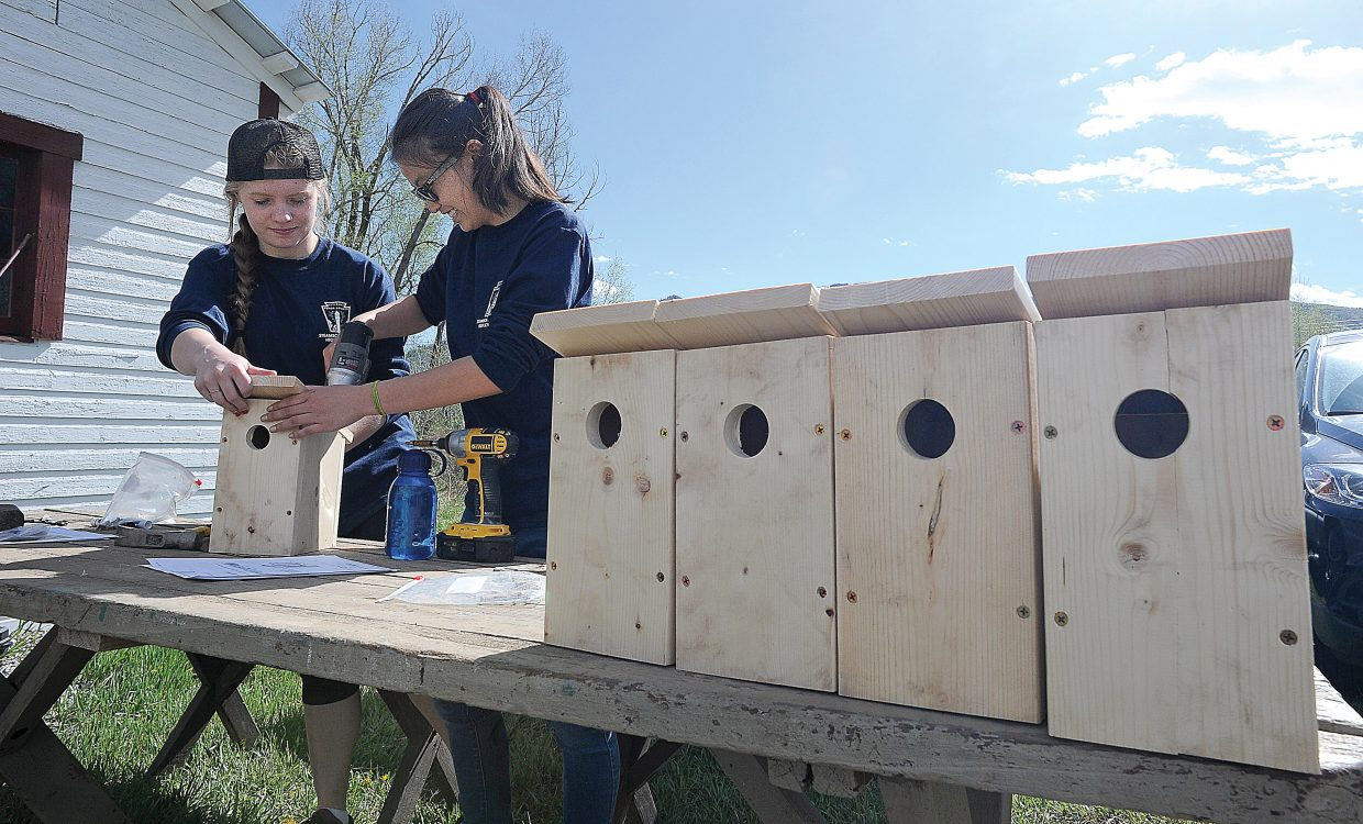 Steamboat Springs High School students Christine Krentz, left, and Kestrel Johnston build birdhouses at Legacy Ranch on Wednesday morning as part of the Routt County United Way's Day of Caring.