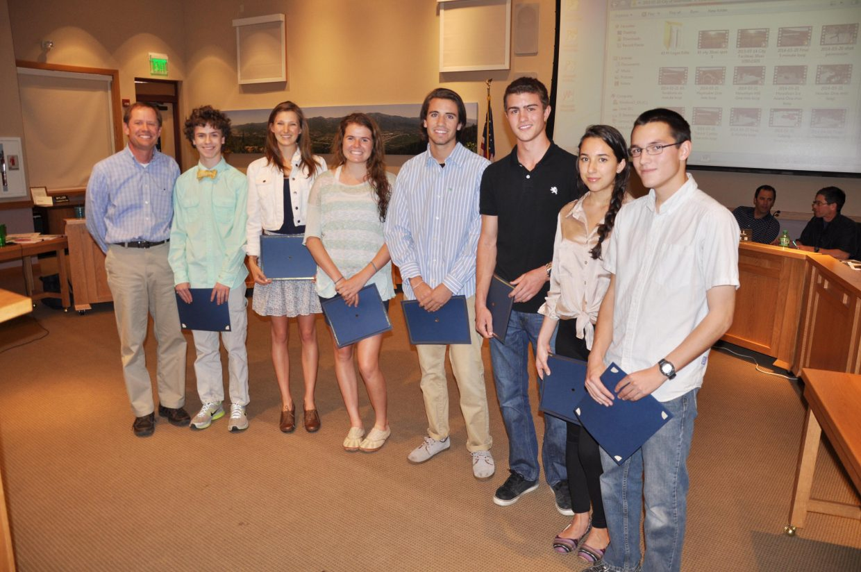 The Steamboat Springs City Council this week honored the Steamboat Springs Teen Council's Teens of the Month for 2013 and 2014. City Council President Bart Kounovsky is pictured with the honorees, from left, Zach Skubiz, Kelly Borgerding, Meg O'connell, Grant Verploeg, Dylan Parsons, Sofi Mercado and Aidan Gibbs. The Teen Council honors teens every month who demonstrate that they are a valuable community assets, care about matters that affect teens, and are committed to community service.