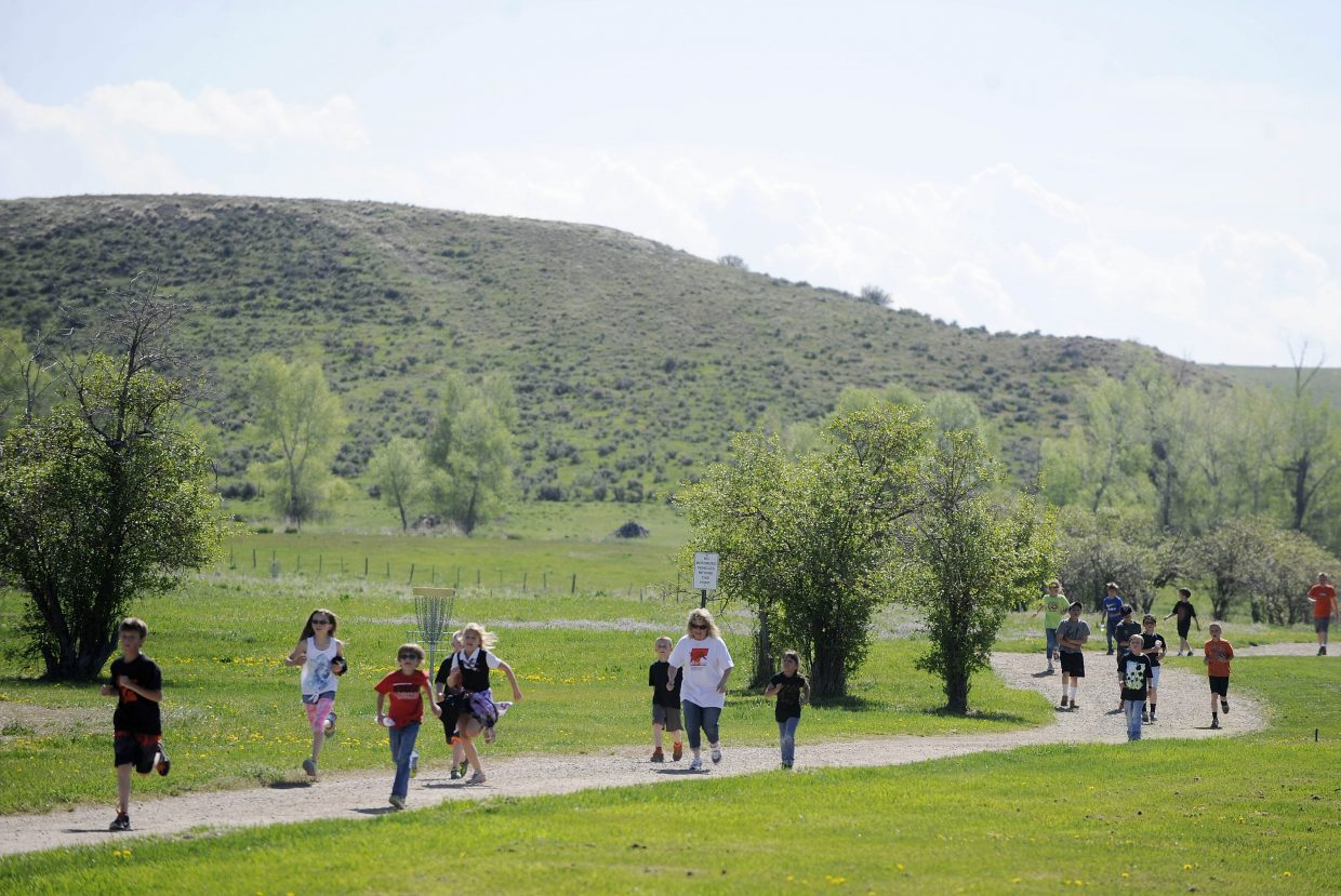 Hayden Valley Elementary School students participate in the Tiger Fun Run on Thursday at Dry Creek Park. The students begin their summer vacation Friday.