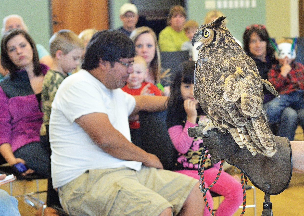 Ann Troth, treasurer of Nature's Educators, holds a great horned owl during a demonstration for International Migratory Bird Day at the Bud Werner Library. Nature's Educators brought several birds, including this great horned owl, a Swainson's hawk and an American kestrel.