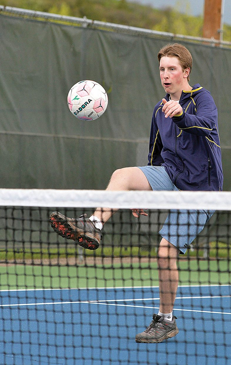 Erik Sobeck, who grew up in Steamboat Springs, plays soccer tennis with his college buddies who just returned from school.