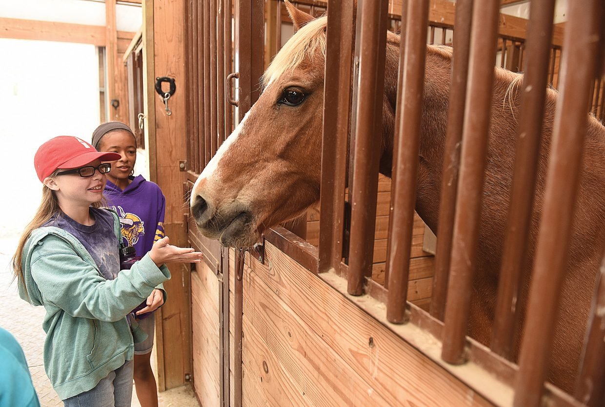 Hayden students Mikenzie Kelley, red hat, and Amaya Chavez-Brown meet one of several horses on the Coyote Creek Ranch near Hayden during the 2016 Ranch Days.