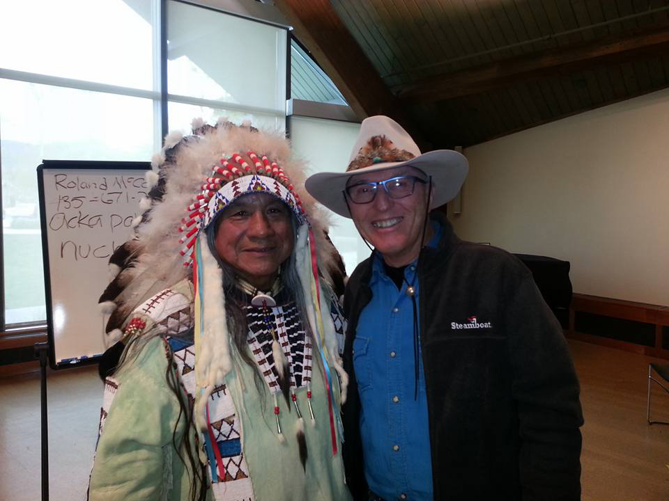 Ute heritage leader Roland McCook, left, and Billy Kidd pose at the Bud Werner Memorial Library on Monday after McCook spoke to a standing room only audience at the library. The event was a co-production of the Tread of Pioneers Museum and the library and marks the beginning of a series of events the museum and community partners will be planning to increase Ute heritage connections, awareness and education in the community.