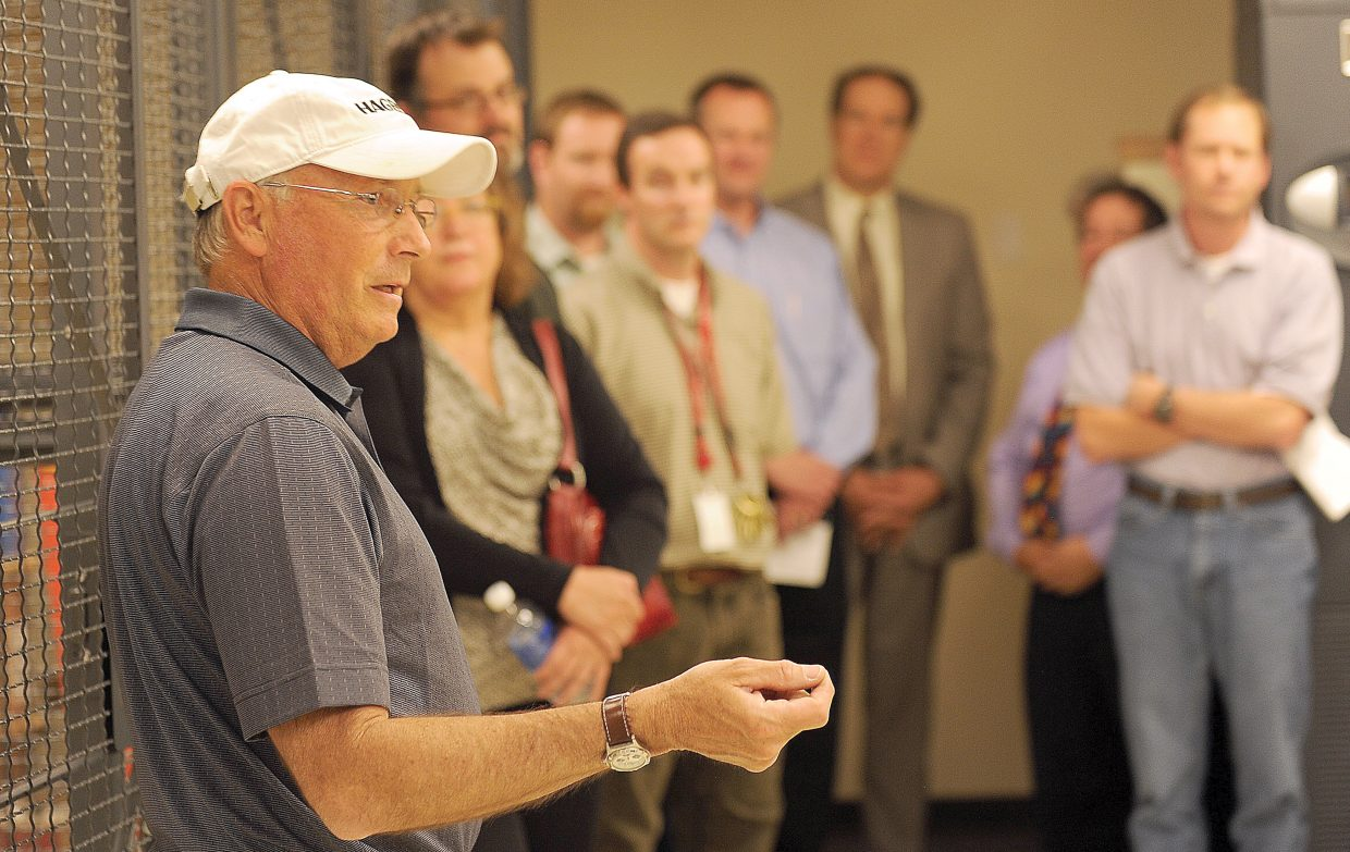 Former Steamboat Springs Chamber Resort Association CEO Tom Kern speaks at a ribbon cutting held last May for a carrier-neutral location in the George P. Sauer Human Services Center in Steamboat Springs.