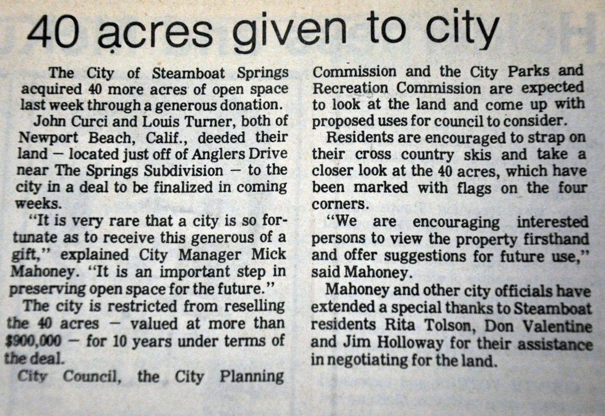 This Steamboat Pilot article from Jan. 10, 1985, announced the donation of the 40 acres of land that would become Rita Valentine Park.