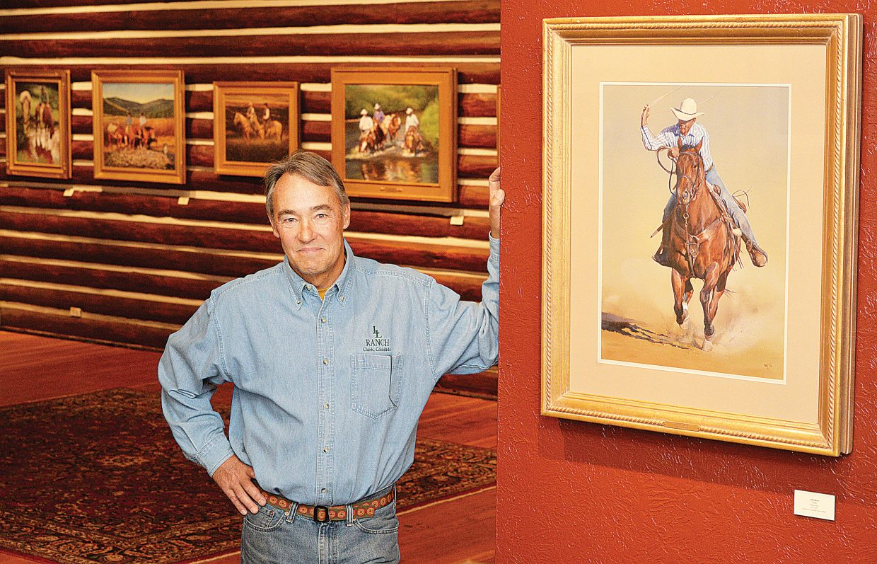 Painter John Fawcett's art work reflects the western lifestyle and includes many paintings of local ranching legends like Ray Heid and former professional cowboy Chad Bedell.