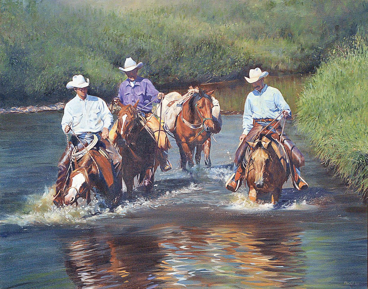 """John Fawcett likes to use local ranchers in many of his paintings and they are featured in this oil painting """"In Deep Water"""". The painting is part of a collection owned by Gary and Jessie Van Ness."""