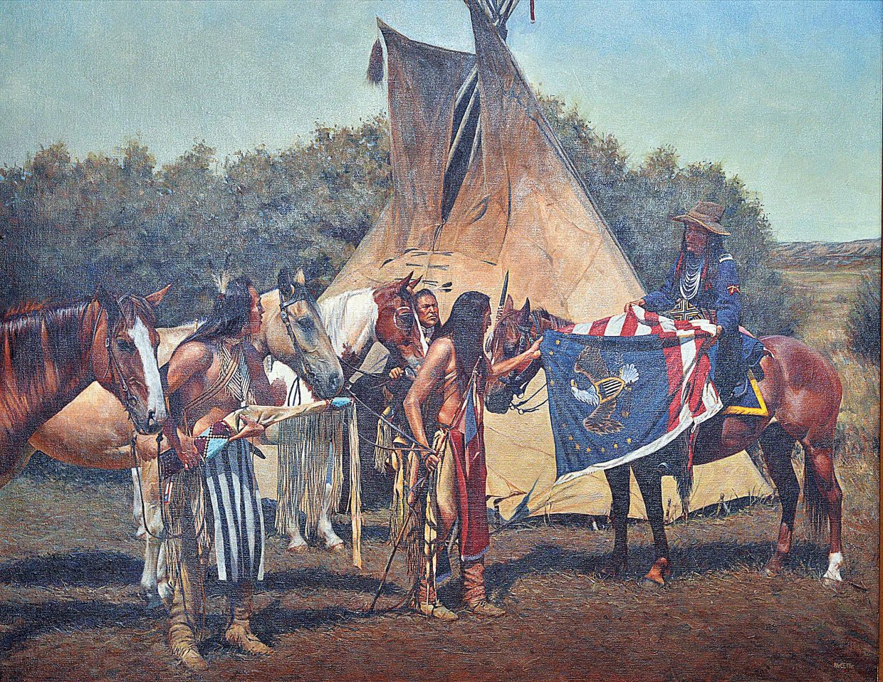 """This John Fawcett Oil Painting """"The Chief's Flag"""" was created in 2012 using models to recreate the situation. The painting is part of the Raymond James Financial Collection collection owned by Tom and Mary James a Hannon and is on display as part of a retrospective show by Fawcett that will be featured at the Steamboat Art Museum."""