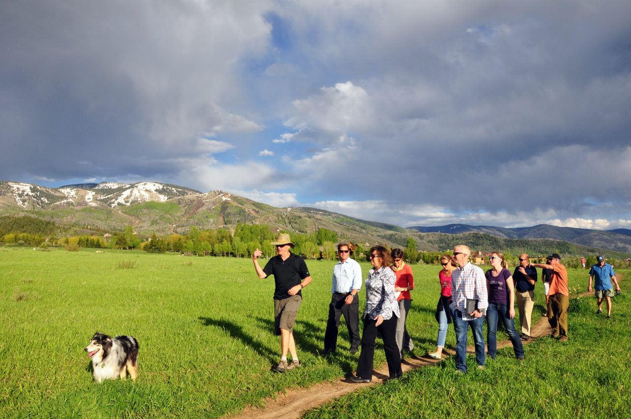 The Steamboat Springs Parks and Recreation Commission tours Rita Valentine Park with city officials.