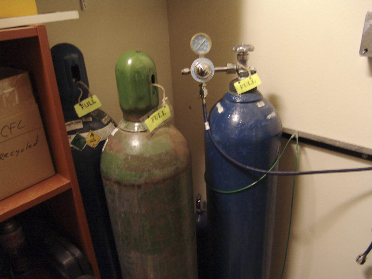 Police say the stolen tank of nitrous oxide was similar to the one pictured here on the right.