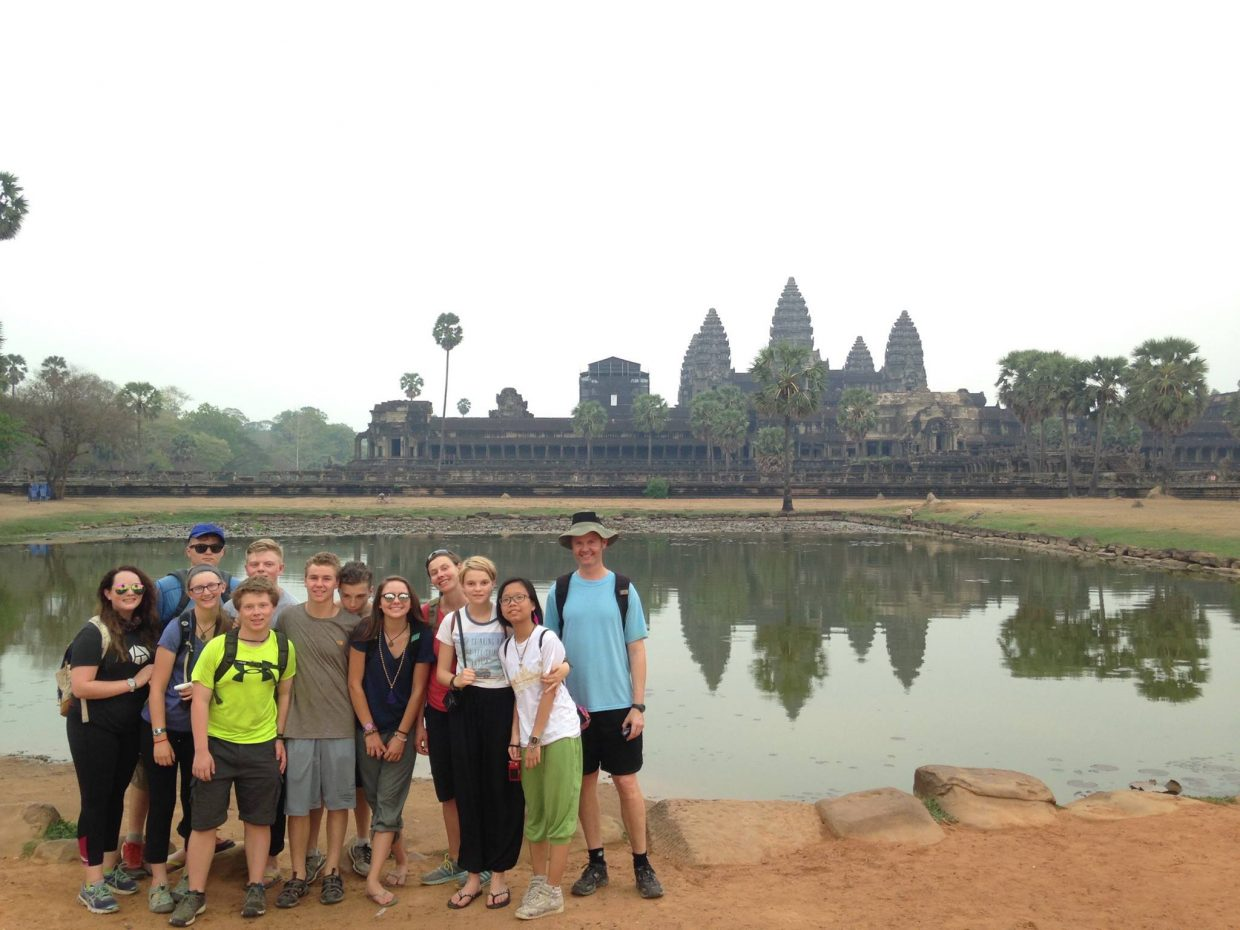 Steamboat Mountain School students who traveled to Vietnam and Cambodia pose for a photo together during their trip.