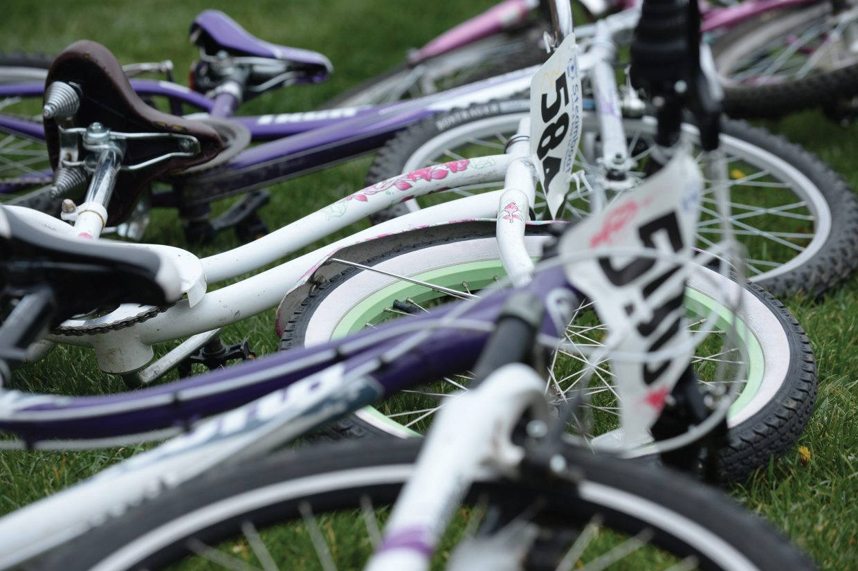 Bikes line the yard in front of the Strawberry Park Elementary School on Friday morning during the annual bike rally.