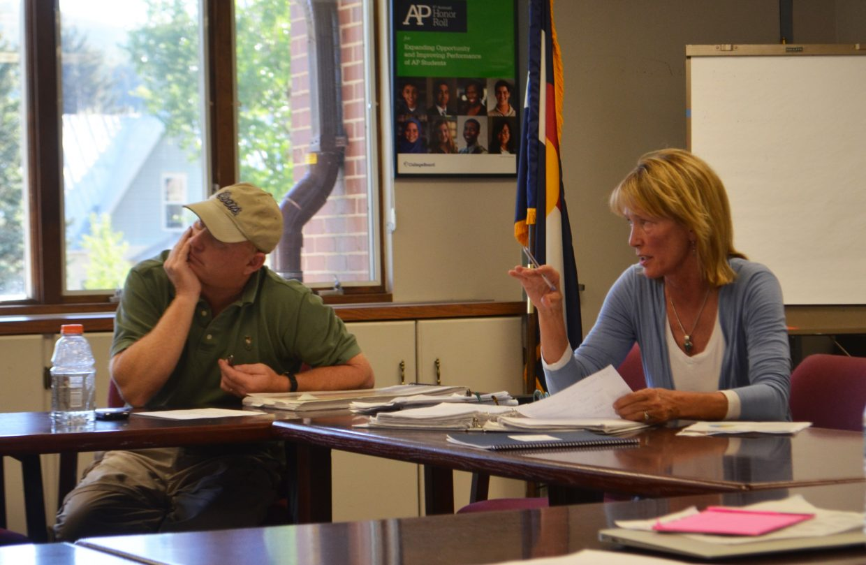 Community Committee for Education Chair Bette Vandahl, right, speaks during a committee meeting.