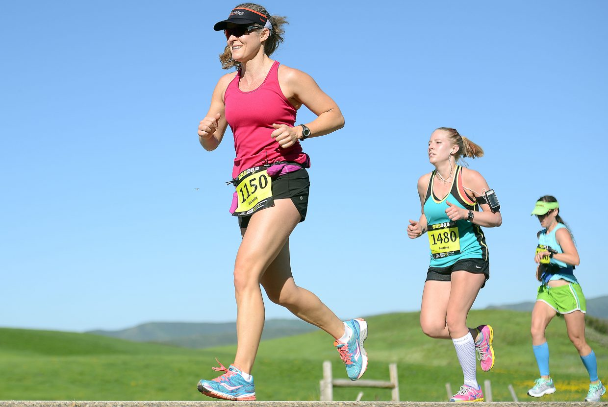 Michelle Cleminson, of Boulder, leads a pack during Sunday's Steamboat Marathon.