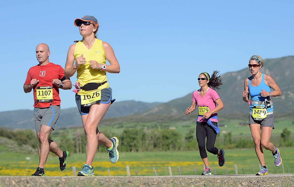 Macey Moore runs in the Steamboat Marathon.