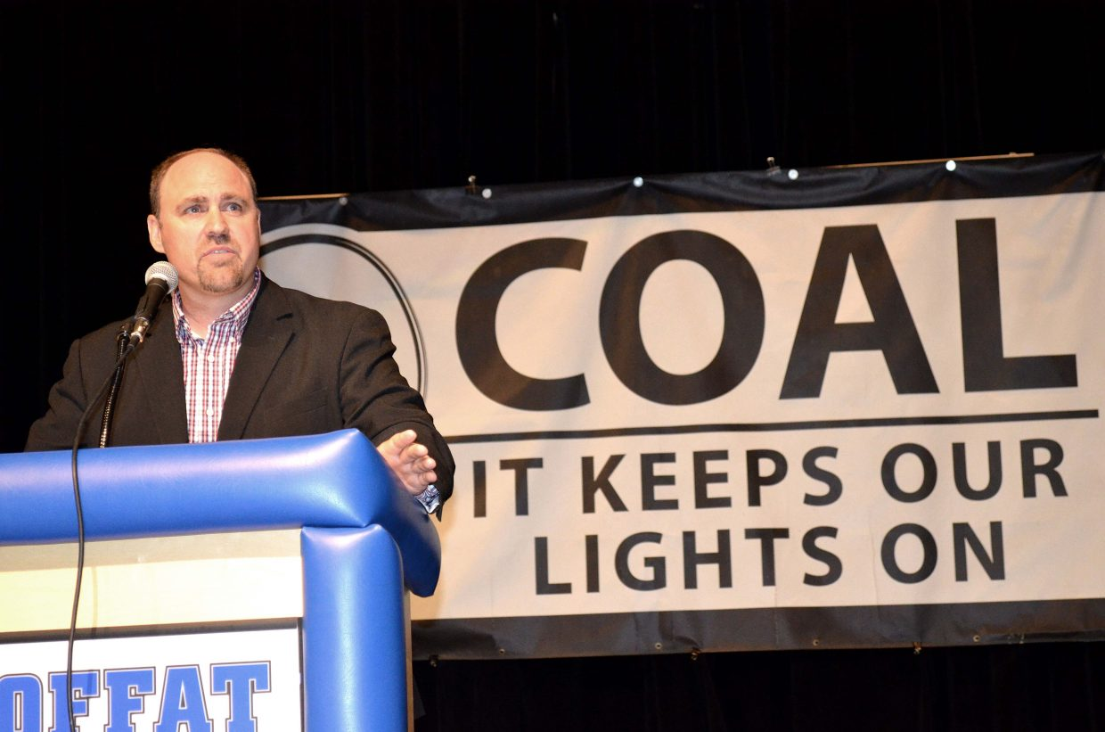 Colowyo Coal Mine Manager Chris McCourt spoke to nearly 800 people at a community meeting Wednesday night about the ruling against the South Taylor pit at the coal mine. The meeting was held at Moffat County High School Auditorium.