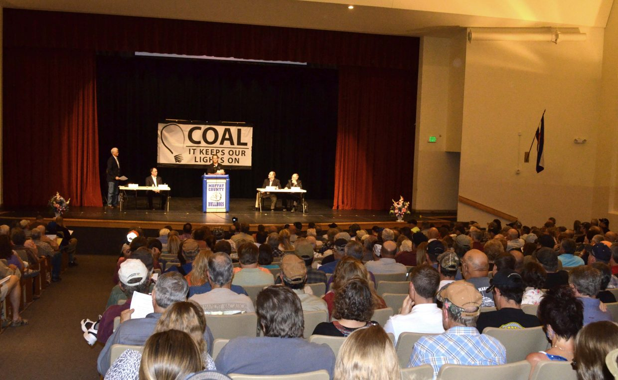 Moffat County High School's Auditorium was packed with concerned community members who are worried about the fate of Colowyo Coal Mine.