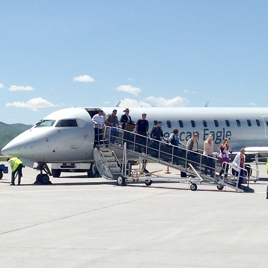 Passengers from Dallas, Texas, disembark from an American Eagle jet at Yampa Valley Regional Airport the afternoon of June 2, representing the first operation of Steamboat's new summer service from that Texas city. In addition to flights from Denver on SkyWest operating as United Express, this summer. United will also fly to the Yampa Valley from Houston.