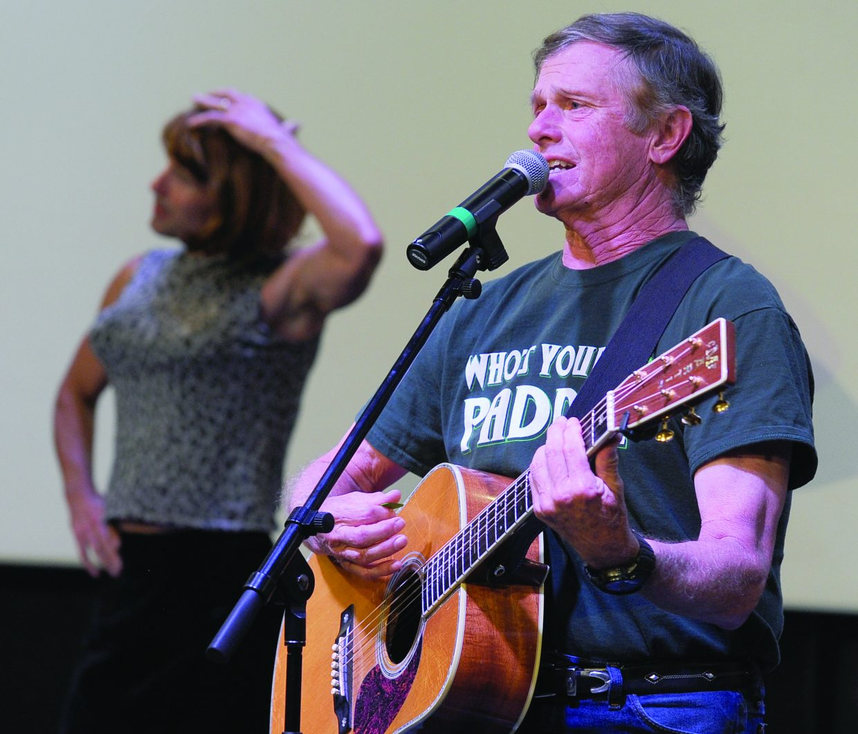 """Steve Jones belts on the note for his redention of """"Pretty Woman"""" during a rehearsal for this yea's Cabaret Wednesday night at the Cheif Theater. The show will open with a 7 p.m. perforance Thursday. There will also be shows at 6 p.m. and 8:30 p.m. on both Friday and Saturday."""