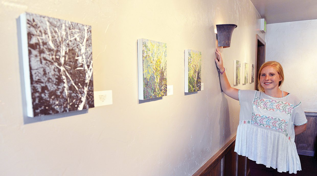 Painter Hollis Moore will display her work at Harwigs for the First Friday Artwalk.