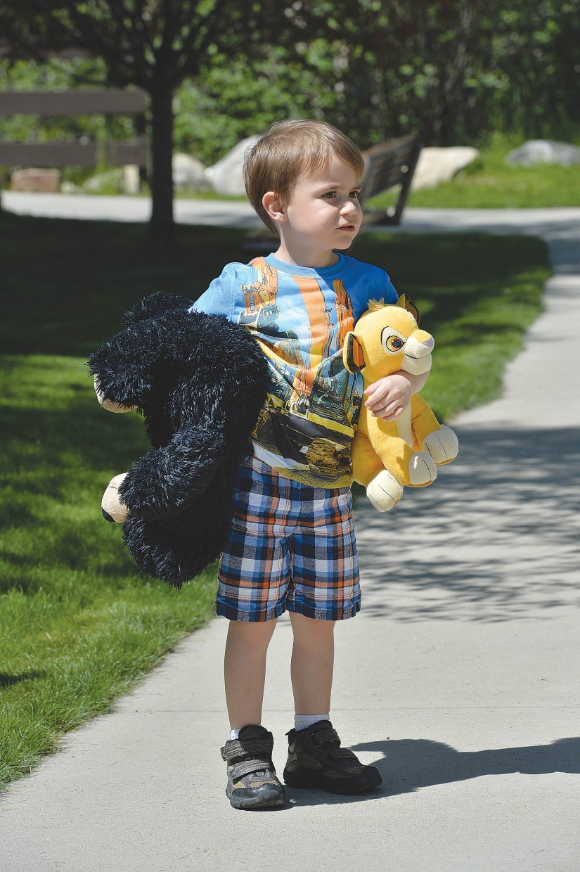 Four-year-old Carson Hirning holds his teddy bear and Simba from the Lion King during the annual Teddy Bear Picnic at the Bud Werner Memorial Library Thursday morning. The event included entertainment from the Yampa Valley Boys and We're Not Clowns as well as face painting.