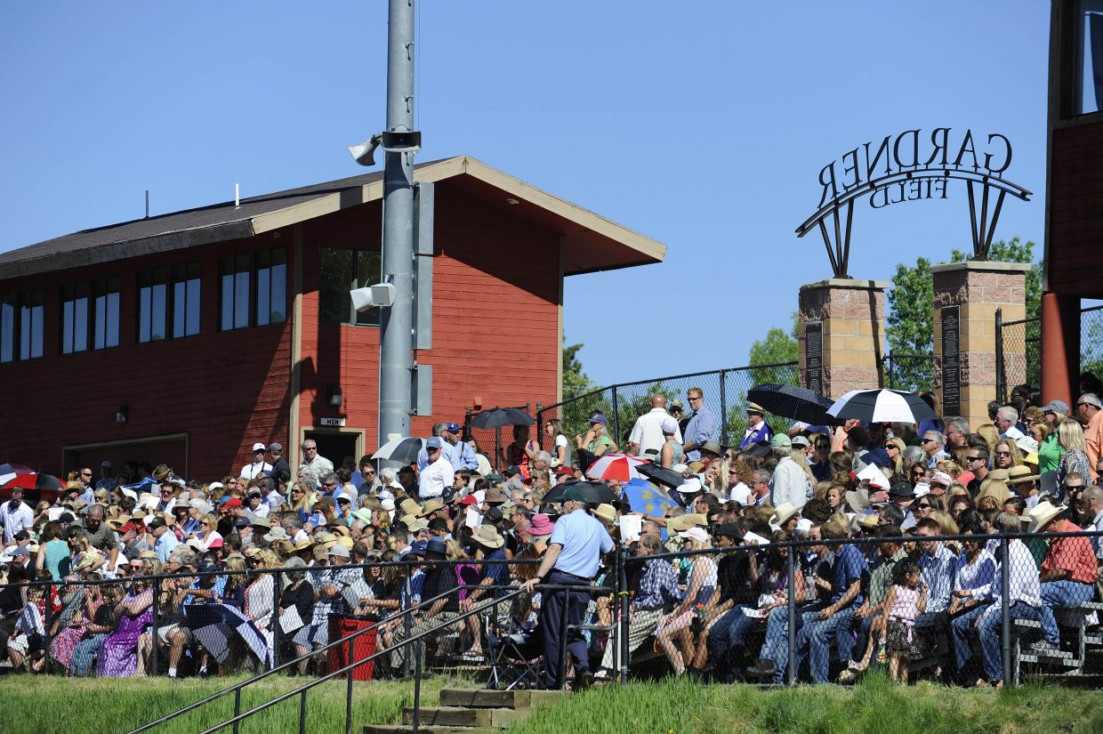 Friends and family fill the stands at Gardner Field during Saturday's Steamboat Springs High School graduation.