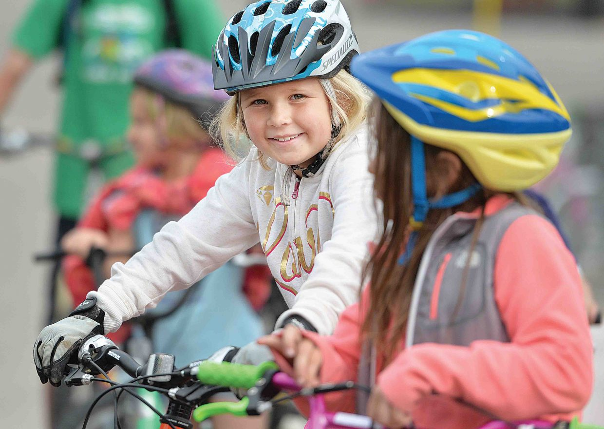 Soda Creek Elementary student Madeline McCreary looked ready to hit the road as part of the school's annual bike rally. The bike rally featured a number of different activities designed to teach young riders the proper and safe way to take to the roads.