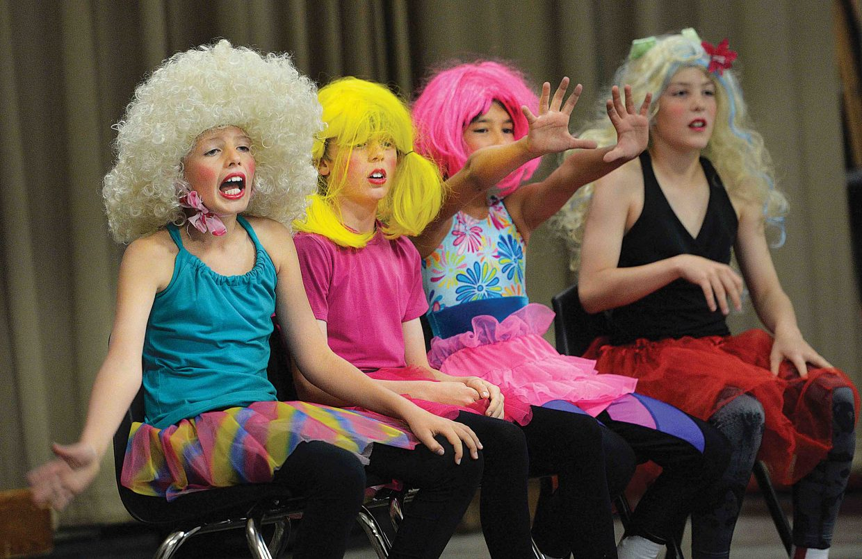 Jake Larsen, Tommy Meissner, Joe Scoppa and Kellen Adams were not afraid to put on a show, not to mention wigs and skirts, to perform at the Strawberry Park Middle School Talent show Friday afternoon. The annual show is a chance to showcase the school's talent, and have some fun at the same time.