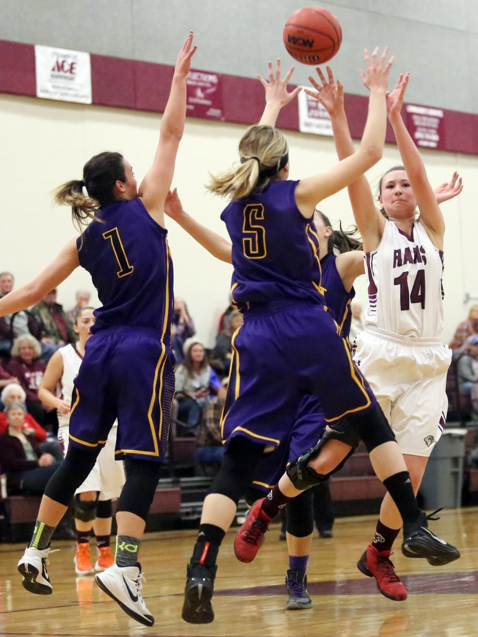 Soroco's Briana Peterson puts a shot up against West Grand.