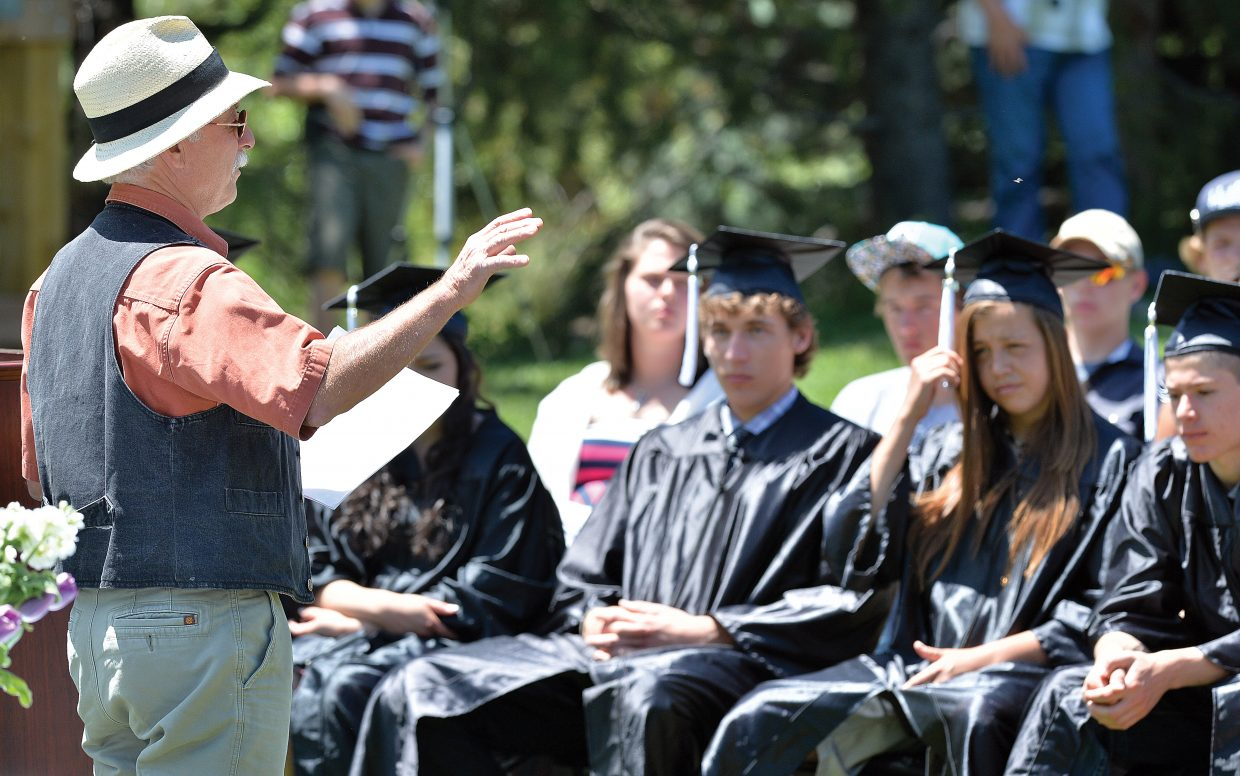 Keynote speaker, and Johnny Walker addresses the Yampa Valley High School Class of 2014 Friday afternoon at the Yampa River Botanic Park.