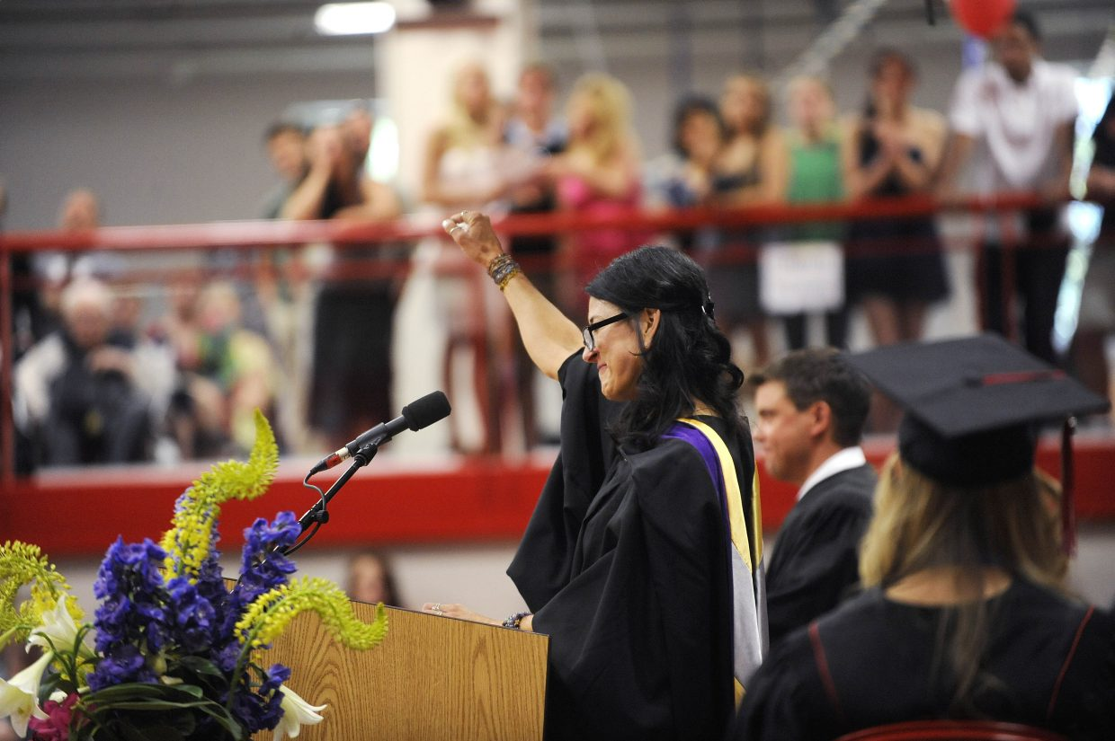 Teachers Deirdre Boyd and Larry Gravelle gave the commencement speech for the Class of 2014 graduation ceremony Saturday.