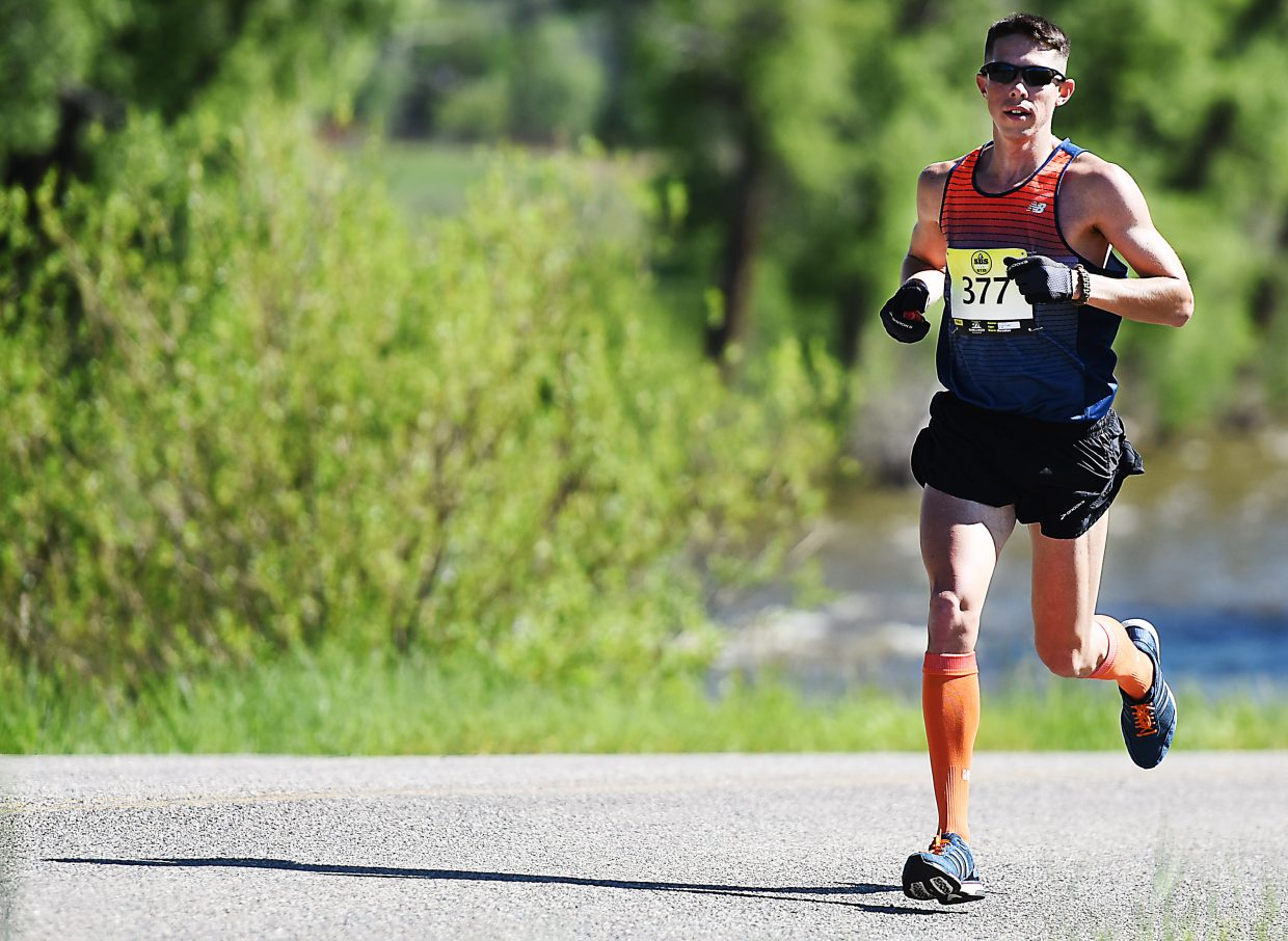 Richard Powell, from Fort Worth, runs Sunday in the Steamboat Marathon. He went on to win the event in 2 hours, 37 minutes and 15 seconds.