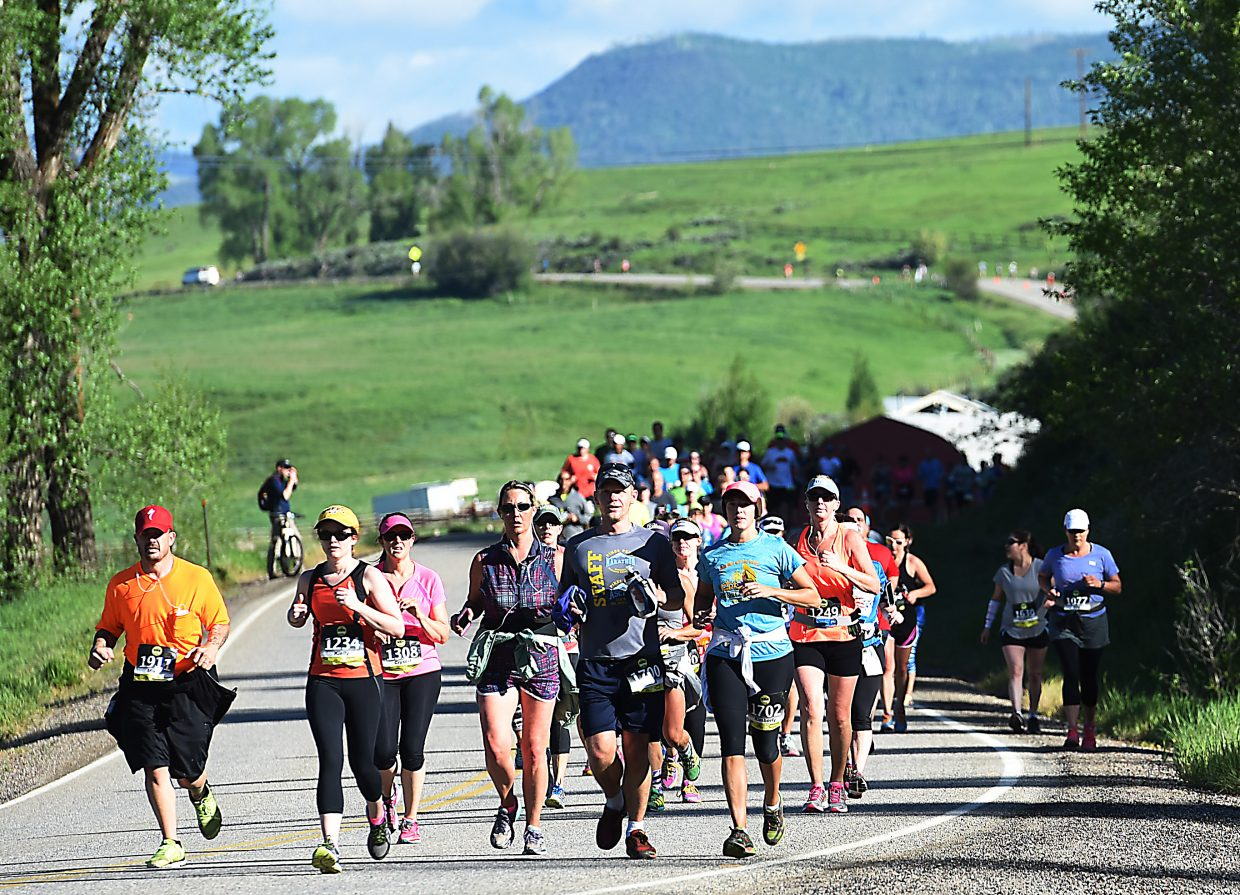 Runners head toward Steamboat Springs during the annual Steamboat Marathon.