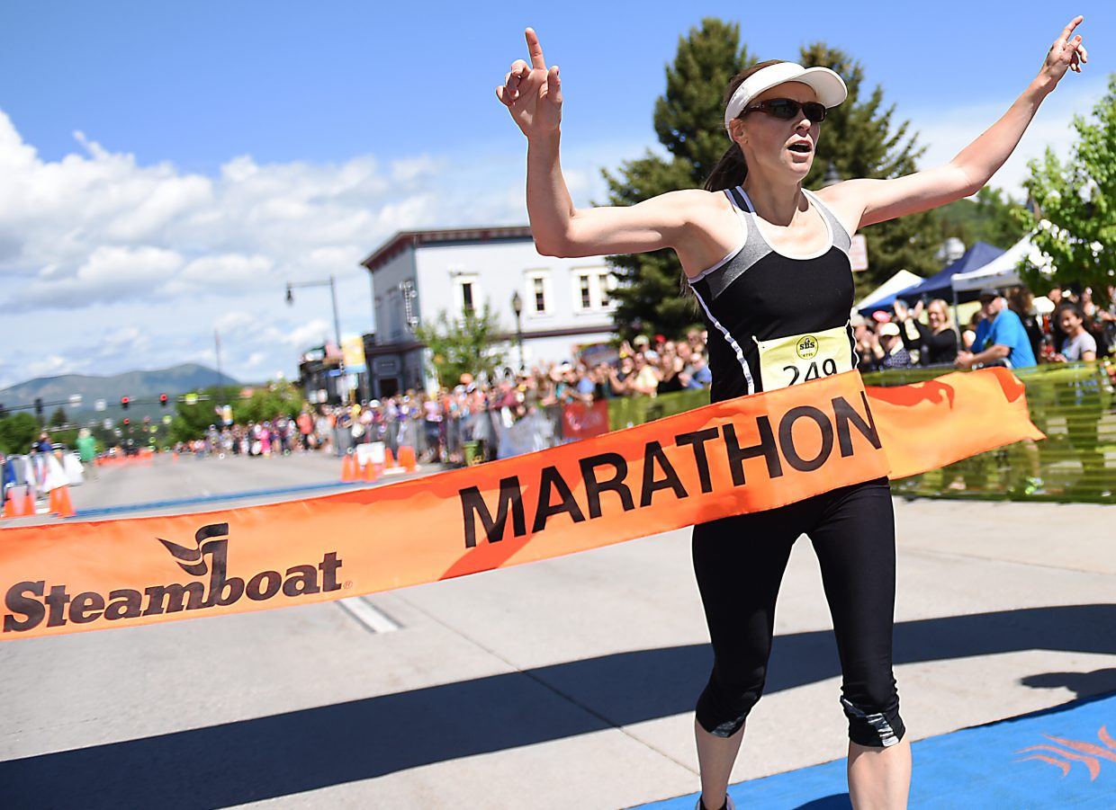 Heather Pietrykowski, from Nederland, finishes the Steamboat Marathon, winning the event in 3 hours, 13 minutes and 19 seconds. The race drew a huge crowd to Steamboat Springs, with more than 1,500 runners finishing the marathon, half-marathon and 10-kilometer distances.