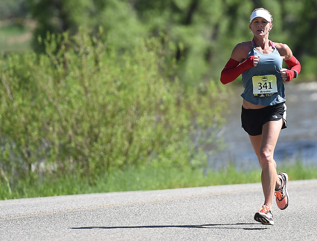 Brooke Waters runs Sunday during the Steamboat Marathon. She finished second.