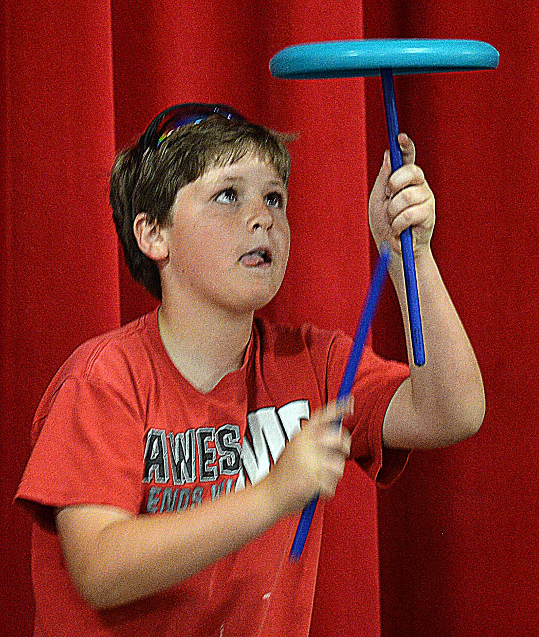 Aiden Murphy performs for fellow students at Strawberry Park Elementary School during Wednesday's talent show. The event is one of several this week as students and staff prepare for the summer break.
