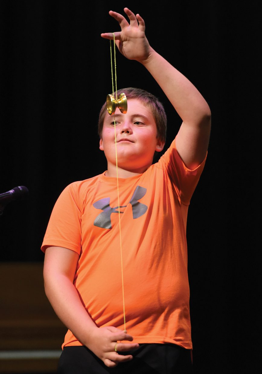 Soda Creek Elementary School fifth-grade student Owen Taylor demonstrates a yo-yo trick during the school's end-of-year talent show Wednesday morning. It was the final day of class for the school this year.