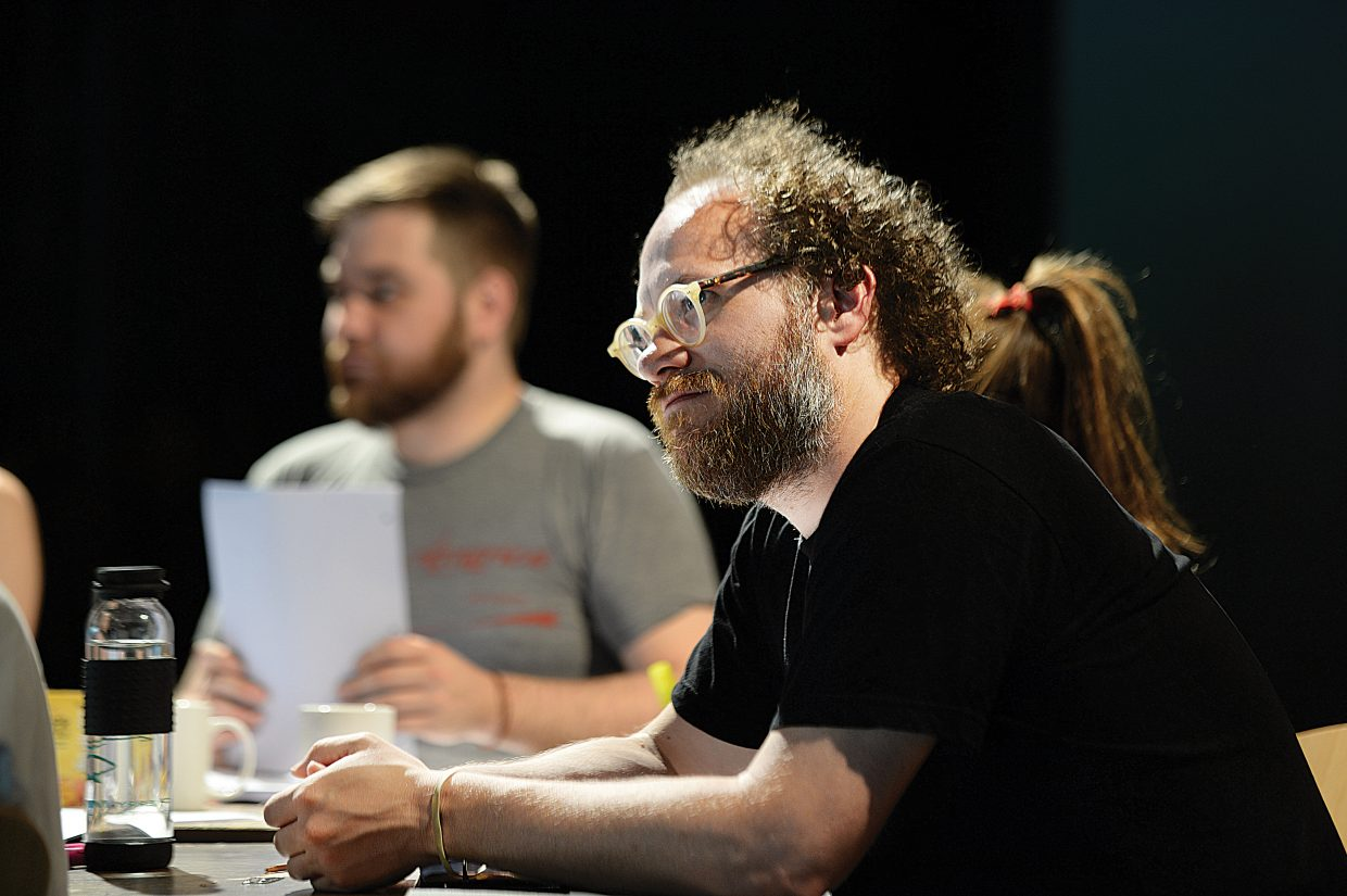"Actor Andy Grotelueschen listens as a fellow actor reads her line as part of ""I Now Pronounce"" during the New Works Festival taking place this week at the Perry-Mansfield Performing Arts School and Camp."