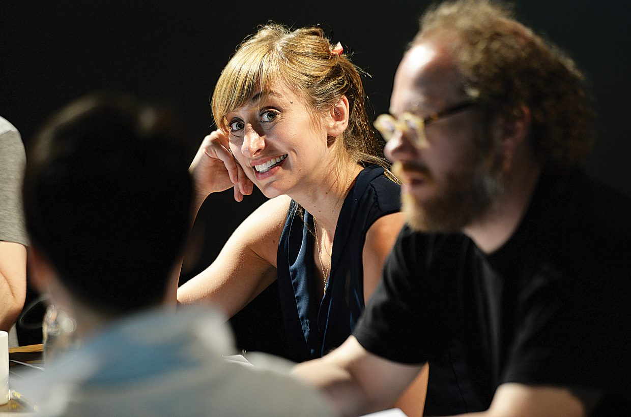 "Lauren Blumenfeld smiles while discussing a passage from ""I Now Pronounce"" during the New Works Festival taking place this week at Perry-Mansfield Performing Arts School and Camp."