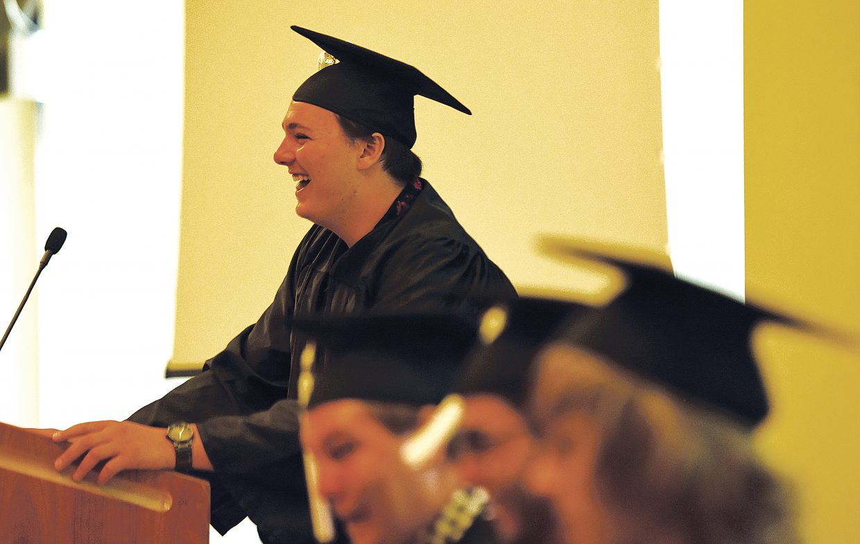 Graduating senior Jakoby Osswald speaks to his classmates and the audience at the Bud Werner Memorial Library in Steamboat Springs Thursday afternoon. Oswald was one of nine seniors who graduated as part of Yampa Valley High School's class of 2016.
