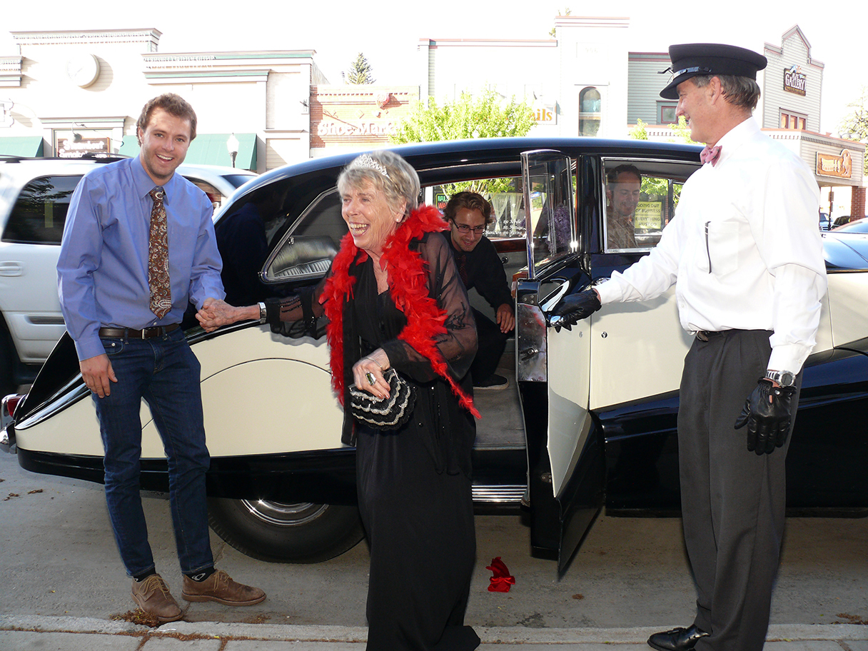 """Longtime Steamboat interior designer and sought-after ski instructor Irene Nelson was helped out of a Rolls Royce June 7 for her 80th birthday party at Harwigs by """"chauffeur"""" Jame Jenny of Harwigs (right) and her grandsons Nelson Kane (far left) and Tristan Arnis (in the back seat). The party was organized by the irrepressible Cookie Lockhart."""