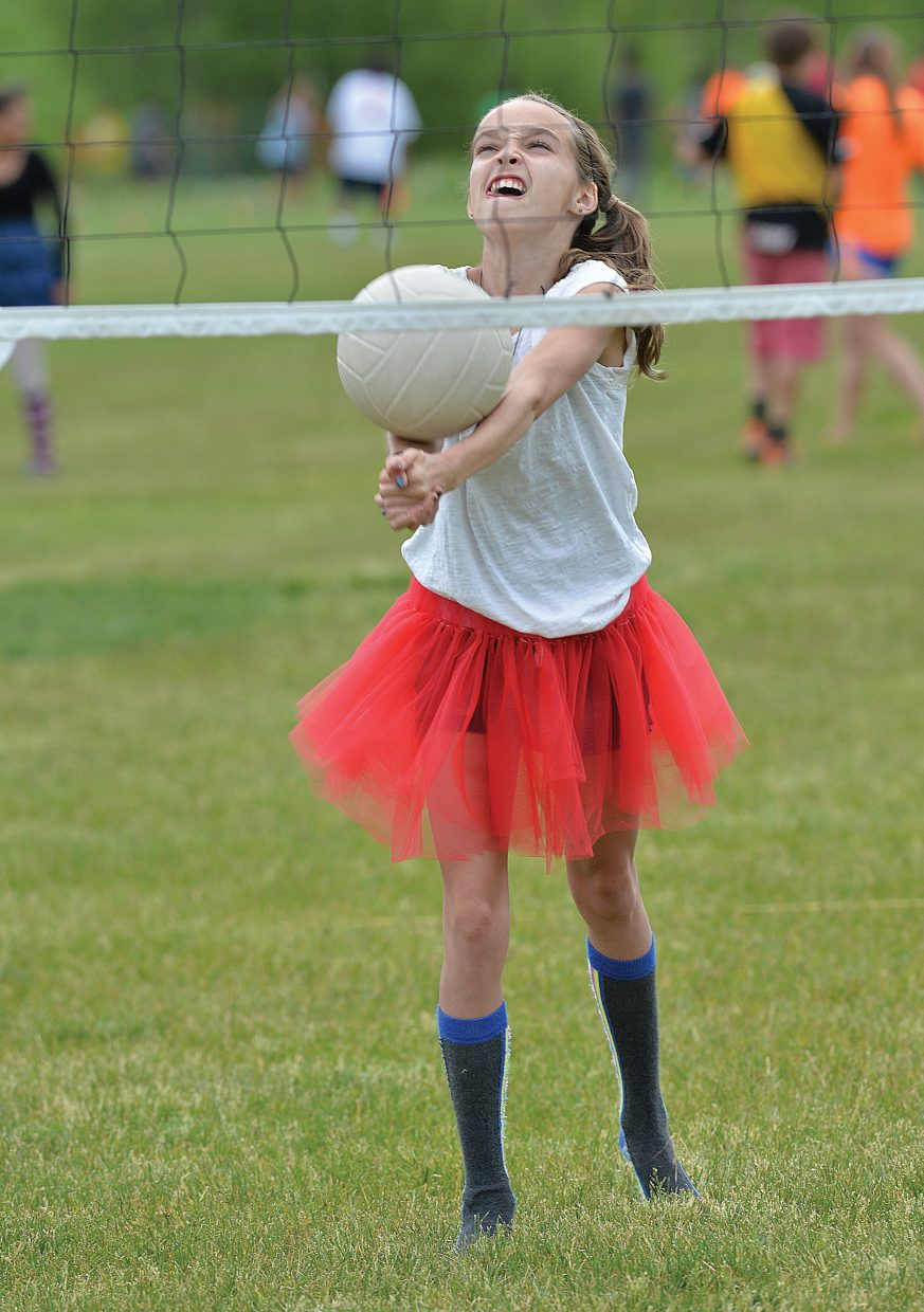 MacKenna Keyek returns a shot during the Steamboat Springs Middle School field day Wednesday afternoon. The students got to mess around for a few hours before the bell rang ending the 2013-14 school year.