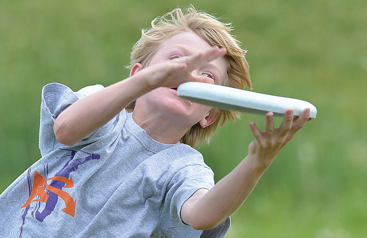Sixth-grader Liam Baxter catches the Frisbee during field day on the final day of classes at Steamboat Springs Middle School on Wednesday.