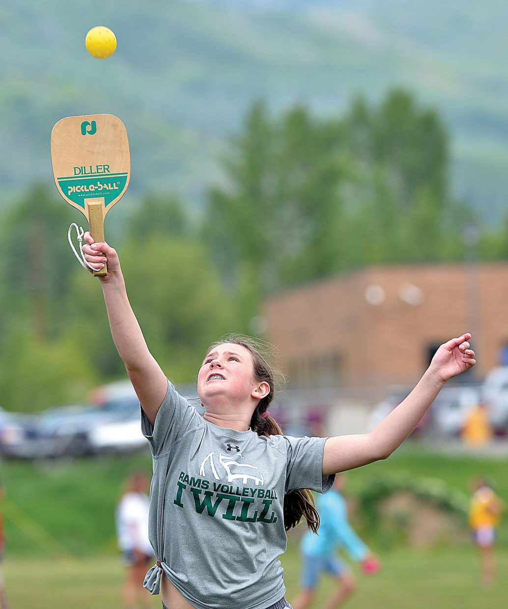 Amber Townsend returns a shot while playing pickleball during field day on the final day of classes at Steamboat Springs Middle School on Wednesday.
