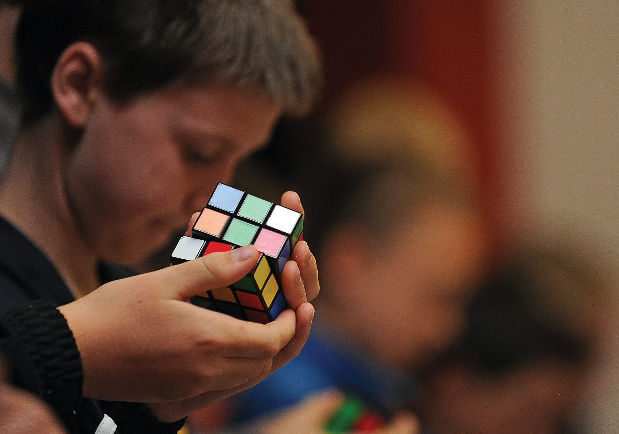 Students race to finish the Rubik's Cube on Wednesday morning at the Steamboat Springs Middle School. The contest was just one of the fun activities local students enjoyed on the final day of classes in Steamboat Springs.
