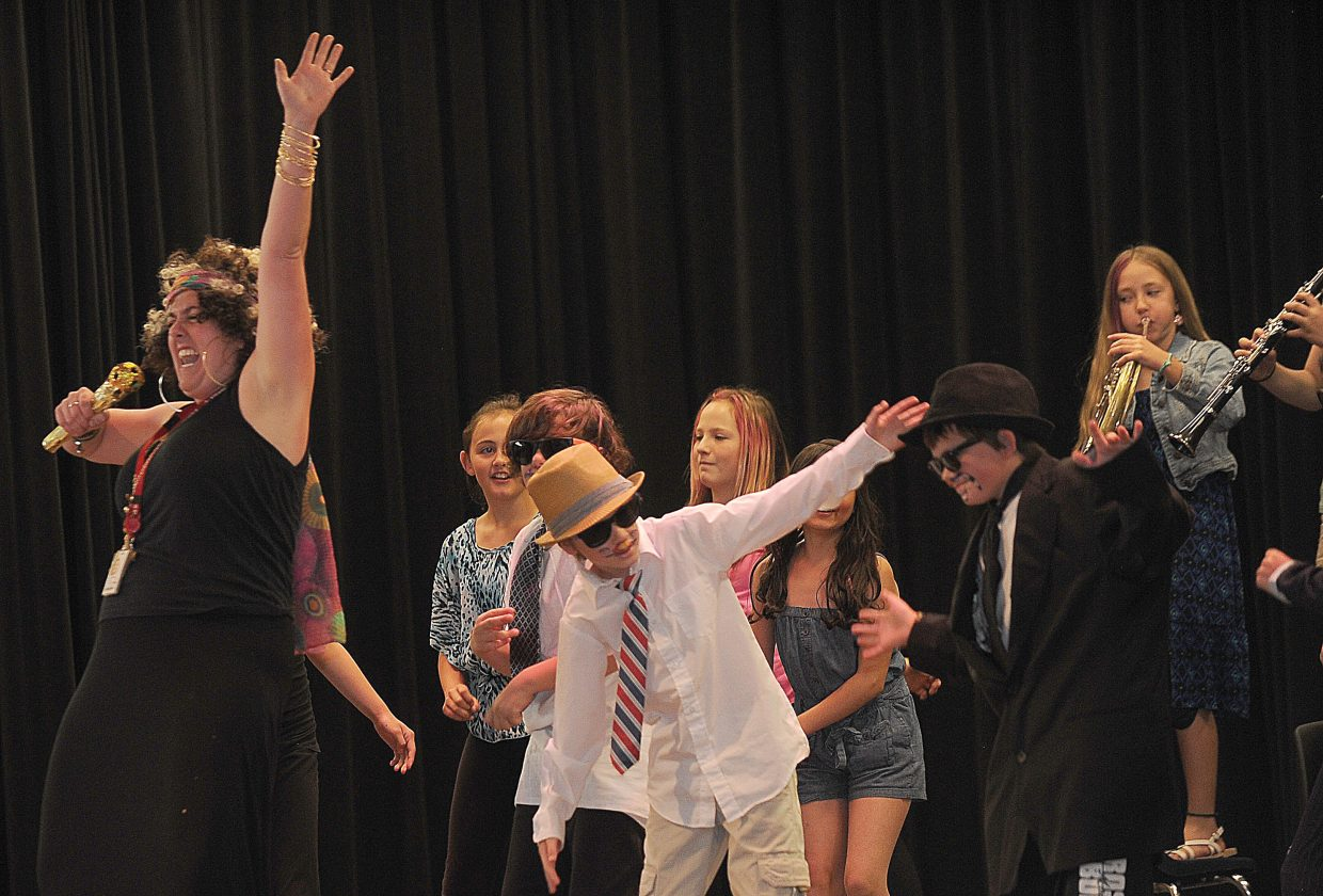 """Kyle Paolantonio performs """"Just Think"""" with the members of her fifth-grade class Wednesday morning at the Soda Creek Elementary School Talent Show. The show was one of many events marking the final day of classes in Steamboat Springs."""